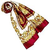 Lorenzo Cana Luxus Damen Seidentuch rot gold weiss Barocktuch 100% Seide 100 cm x 100 cm harmonische Farben Damentuch Schaltuch