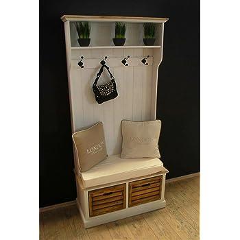 design porte manteau mural avec banc de maison de campagne blanc vieilli banc coffre de. Black Bedroom Furniture Sets. Home Design Ideas
