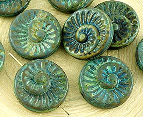 4pcs Picasso Braun Opak Olive Olivin Grün Nautilus Fossile Schnecken-Muschel Ammonit Flache Runde Spiral-Münze Tschechische Glasperlen 18mm