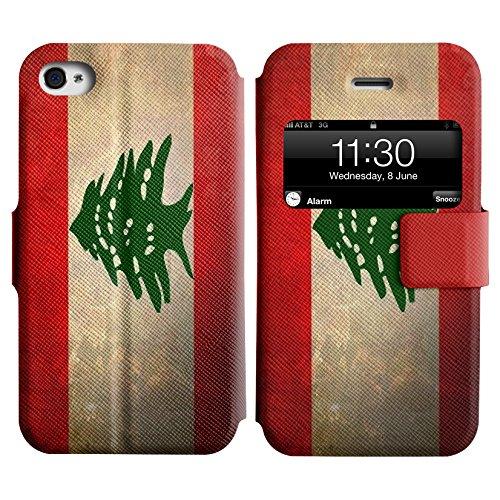 Graphic4You Vintage Uralt Flagge Von Iraker Irak Design Leder Schützende Display-Klappe Brieftasche Hülle Case Tasche Schutzhülle für Apple iPhone 4 und 4S Libanon Libanesisch