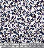 Soimoi Blau Seide Stoff Blätter & Blumen Block Dekor Stoff