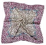 Nella-Mode CHIC & ELEGANT: Leoparden NICKITUCH, Tuch, Halstuch Seidentuch Klassisches Leo-Muster; 53x53 cm, Beere, Braun & Petrol