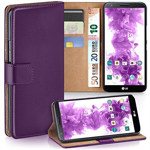 moex LG G2 | Hülle Lila mit Karten-Fach 360° Book Klapp-Hülle Handytasche Kunst-Leder Handyhülle für LG G2 Case Flip Cover Schutzhülle Tasche