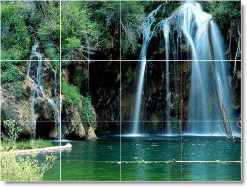 CASCADAS FOTO MURAL AZULEJOS W095  36 X 121 92 CM CON (12) 12 X 12 AZULEJOS DE CERAMICA