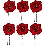 Beaupretty 6 stücke Hochzeit Hochsteckfrisur Haarnadeln Rote Rose Blume Haar Klebt Uförmige Haar Essstäbchen für Braut Brautj