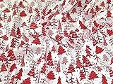 Weihnachten Bäume Print Polycotton Kleid Stoff Weiß
