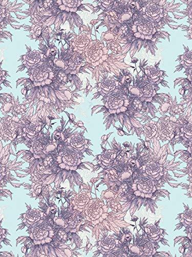 Décopatch Papier No. 760 Packung mit 20 Blätter (395 x 298 mm, ideal für Ihre Papmachés) lila rosa, blumen