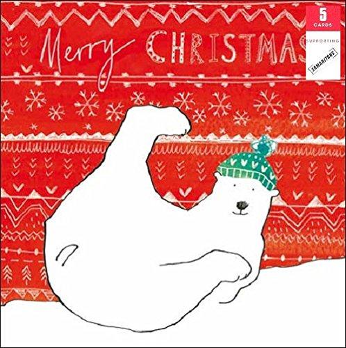 lot-de-5-ours-polaire-samaritains-de-cartes-de-noel-caritatives-de-noel-cartes