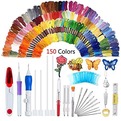 Oshide 187 Pcs Stickerei Set, Stickerei Nähen Punch Nadeln Craft Tool Set Kombination Einschließlich 150 Farbe Threads für DIY Nähen Kreuzstich -