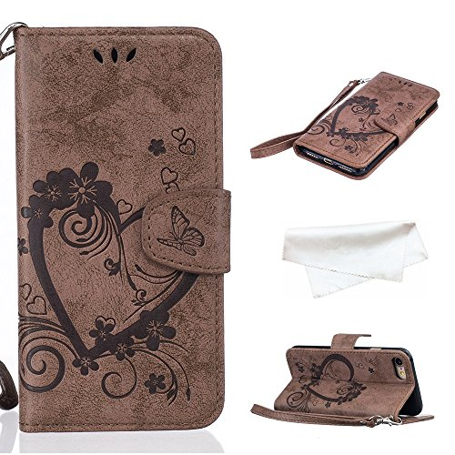 Cover per iPhone 8 / iPhone 7, Vectady Cover Custodia in Pelle a Libro Portafoglio Wallet Magnetica Flip Cuoio Leather Case Protettiva Antiurto Caso con Porta Carte Funzione Cinturino da Polso Disegni Marrone