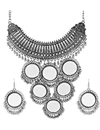 Cardinal Silver Oxidised Mirror Designer Afghani Traditional Necklace/Pendant Set Earring for Women/Girls
