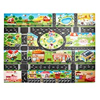 Glomixs Children Play Mats, House Traffic Road Signs Car Model Parking City Scene Map, Baby Children Educational Road Traffic Play Mat - Learn and Have Fun Safely, Non Toxic for Bedroom Classroom