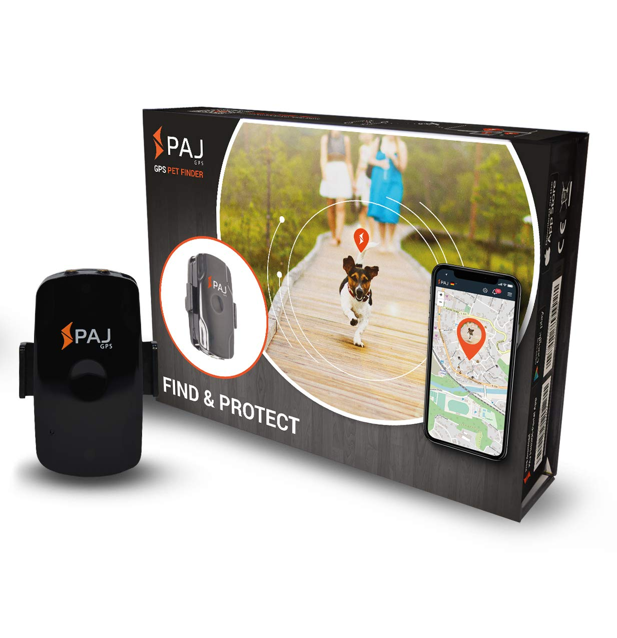 PAJ GPS Pet Finder GPS Tracker Mini Protege Perros y Gatos Resistente al Agua 2 días de duración de la batería (3 días Modo de Espera) Rastreo en Vivo
