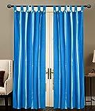 BLUE STRIP LOOP Door curtains setof 2 pc