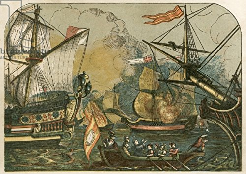 "Alu-Dibond-Bild 80 x 60 cm: ""English fireships burning among the Spanish Armada"", Bild auf Alu-Dibond"