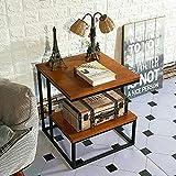 Beistelltisch CAICOLOUR Massivholz + Schmiedeeisen Sofa Nachttisch Wohnzimmer Kleiner Couchtisch Kleiner Schreibtisch - 3 Farben 45 * 45 * 50cm (Farbe : Light Teak)