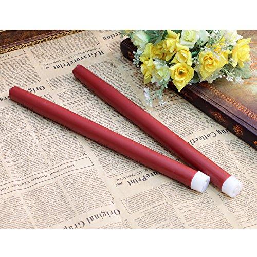 Geben U Stabkerzen LED Spitzkerzen mit Timer Led Flammenlos Kerzen Echtwachs, 30,5 cm, rot, 2 Stück, Hauptdekoration für Weihnachten Hochzeit Valentinstag - 6