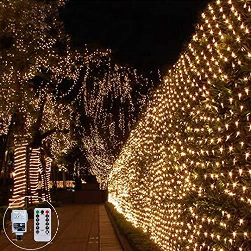 LED Lichternetz 3X2M 200LED Lichterkette Außen Weihnachten Lichterkette 8 Modi für Innen Party Baum Garten Terrasse Neujahr Xmas Deko,Vernetzbar (Warmweiß)