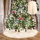 Tatuo Weiße Kunstpelz Weihnachtsbaum Rock Schnee Baum Röcke für Weihnachtsfeiertag Dekorationen (80 cm)