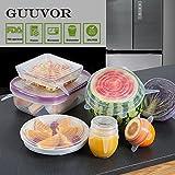 GUUVOR Coperchi in Silicone Stretch 6-Pack Di Varie Dimensioni, Espandibile Eduraturo,Resistente Alla Lavastoviglie, Al Freezer e Al Forno (bianco)