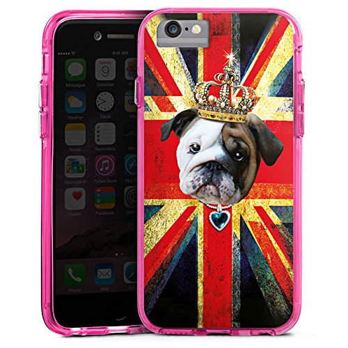 Apple iPhone 6s Plus Bumper Hülle Bumper Case Glitzer Hülle Englische Bulldogge Krone Crown Bumper Case transparent pink