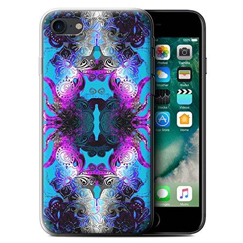 Stuff4 Gel TPU Hülle / Case für Apple iPhone X/10 / Rote Blumen Muster / Symmetrie Muster Kollektion Lila/Blaue Blumen