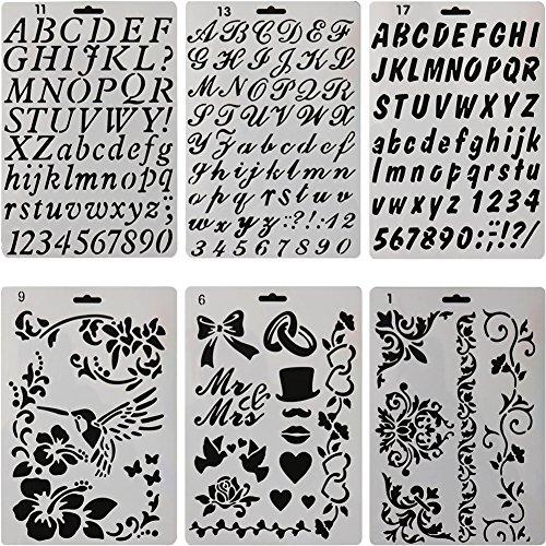 sunswei 6PCS Zeichnen Malerei Schablonen, Alphabet und Zahlen Schablone Vorlagen für Journaling, Scrapbooking, Malerei, Karte und Handwerk Projekte (Papier-buchstaben-alphabet)