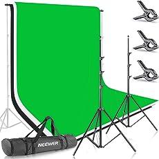 Neewer 8,5 ft * 10 ft / 2,6 m * 3 m Hintergrund Ständer-Support-System mit 6 ft * 9 ft / 1,8 m * 2,8 m Hintergrund (weiß, Schwarz, grün) für Portrait, Produkt Fotografie und Videoaufnahme