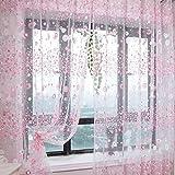 200*95cm Fenster Dekoration Kleine Blumen Floral Tüll Voile Vorhang Gardine (rosa)