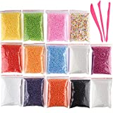 Kuuqa micro polistirolo perline piccole palline Slime Beads set con 3 Slime Tools Fit per Slime Art fai da te Craft, 0.08 – 0,4 cm circa 50000 palline in totale