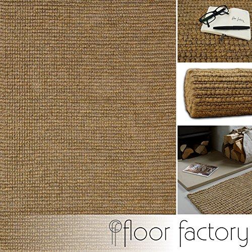 floor factory Alfombra Moderna Natural Yute Natural/Beige 160x230cm - Tejido a Mano de 100% Fibras Naturales