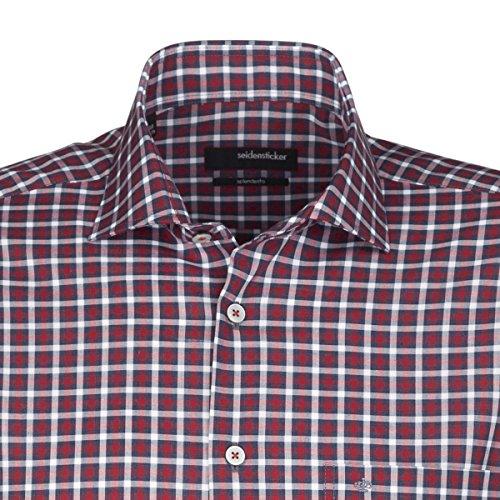 SEIDENSTICKER Herren Hemd Modern 1/1-Arm Bügelfrei Karo City-Hemd Kent-Kragen Kombimanschette weitenverstellbar rot (0047)