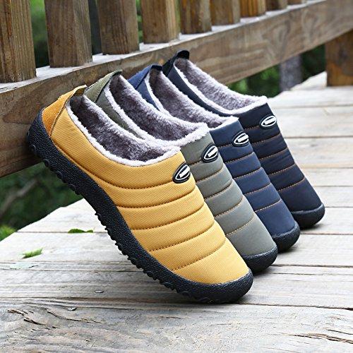 Voovix Zapatillas de Casa Invierno Zapatos Calientes Antideslizante House Slippers Adultos para Hombre Mujer(Negro,EU46)