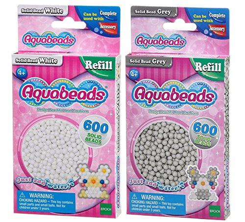 Aquabeads Solid Bead Pack Bundle - Weiß und Grau - 2 Stück geliefert (Versand aus UK)