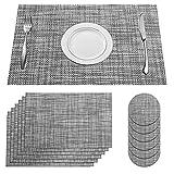 SUPERSUN Platzset Grau Abwaschbar 6er Set, Schönes Tischset Tisch Platzdeckchen Abwaschbar Abgrifffeste Hitzebeständig for Küche, Zuhause, Restaurant, Speisetisch, 45x30cm