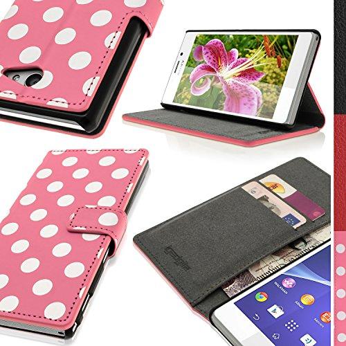 igadgitz 'Vintage Kollektion' Brieftasche Wallet Flip Pink mit Weißen Polka Punkte PU...
