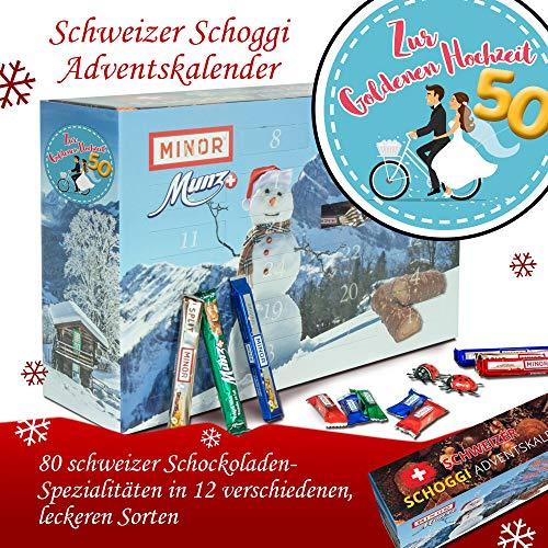 Zur Goldenen Hochzeit | Advent Kalender dunkle Schokolade | Weihnachtskalender Schweizer Schoki Weihnachtskalender 80x Schokolade Weihnachtskalender Schweizer Schoki Weihnachtskalender Schokolade Weihnachtskalender xxl