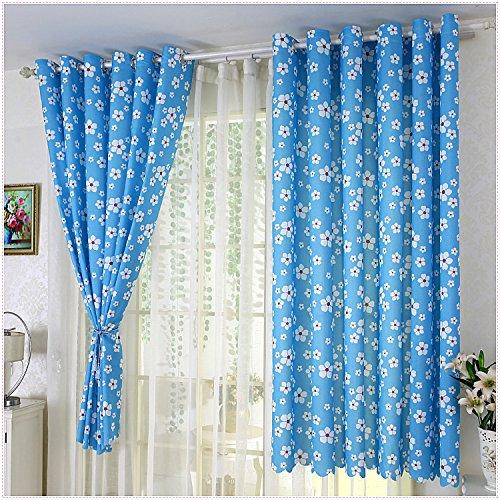 HZH-HZH-Die blauen Vorhänge pastorale Schlafzimmer Fenster einfach und Modern (2 St.), 3,4 breit x 2 Höhe (Licht Blauer Seide Vorhänge)