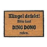 Relaxdays Kokosmatte Ding Dong, Fußmatte aus Kokosfasern, Rutschfeste Türmatte, Schmutzfangmatte, 40x60cm, Natur/schwarz