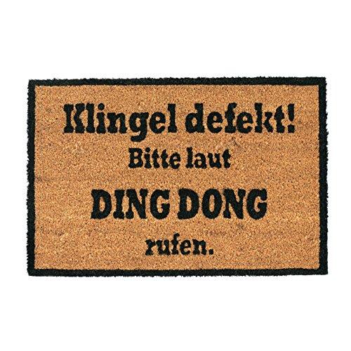 Relaxdays Kokosmatte Ding Dong, Fußmatte aus Kokosfasern, rutschfeste Türmatte, Schmutzfangmatte, 40x60cm, Natur/schwarz, Standard