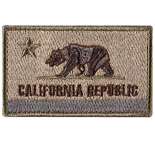 Republik Kalifornien Staatsflagge - CA Bear Tactical Moral Patch - Gestickte Hook and Loop Fastener Patch Abzeichen auf Hut, Jacken, Rucksack (Mud) nähen