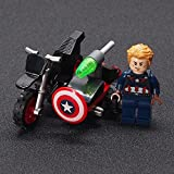 36+ Pieces Building Blocks Of Superheroes Motorcycle Construction Set For Kids (Captain America)