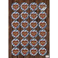 48 runde BAYERN AUFKLEBER SCHÖN DASS DU DA BIST DANKE - ES DICH GIBT blau weiß kariert Lebkuchen Herz rot bayerisch selbstklebende Etiketten Sticker für Gastgeschenke Souvenir Verpackung Geschenke give-away