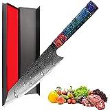 Promithi Couteau de chef fait main 67 couches de damas japonais VG10 en acier à haute teneur en carbone 8 pouces,Kiritsuke Kn