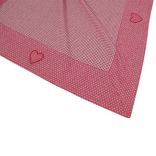WOMETO Tischdecke Romantik 100x100cm in weinrot, aus 100% Baumwolle, hochwertig verarbeitet,...