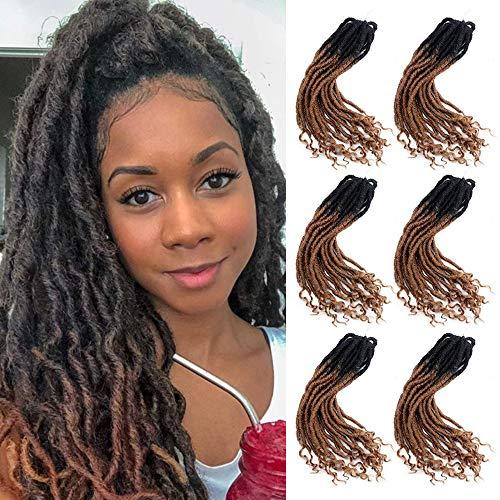 6 Stücke Ombre Brown Faux Locs häkeln Haar lockige Enden synthetische Flechten Göttin Haarverlängerungen (20