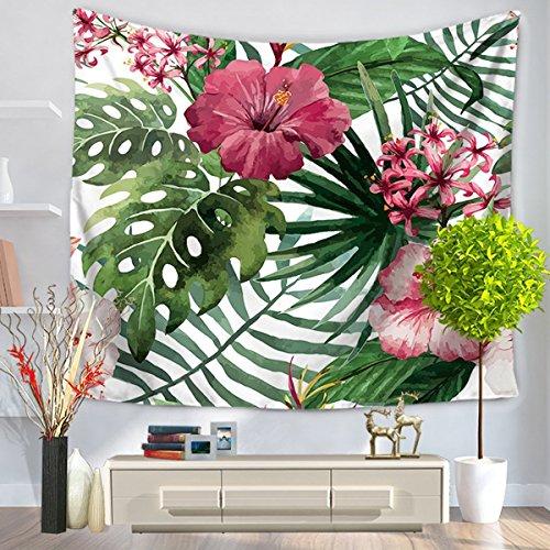 Watercolor Flower Decor Gobelin Tropical Wild Orchid Blumen mit Palm Leaves Print Exotic Style Natur Artwork, Schlafzimmer Wohnzimmer Wohnheim Decor, Polyester-Mischgewebe, Leaf4, 51