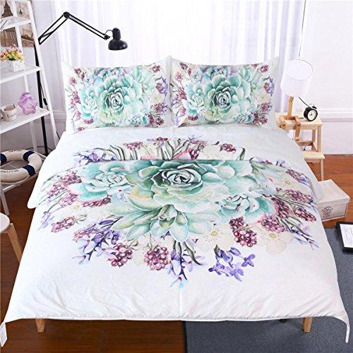 HUANZI Bettbezug Set Bunten Blumen 3D Muster Bettwäsche Set Bettbezug Set mit Kissenbezügen, König