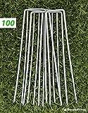 GardenPrime GALVANISÉ Piquets de fixation pour jardin Premium en forme de U 100 x 2,8 mm pour la fixation des tissus anti mauvaises herbes, molleton, imperméables, tissus de paysage (100 pièces) …