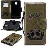 BONROY Nokia 3 Hülle, Premium Lederhülle Tasche PU-Leder Flip Wallet Case [Weich TPU Innenschale] [Kartenfächern] [Magnetischen Verschluss] Handyhülle für Nokia 3, Hello Panda-(Hallo Armee-Grün)
